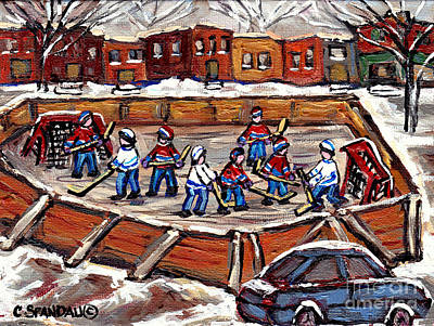 Montreal Cityscapes Painting - Playoff Time At The Local Hockey Rink Montreal Winter Scenes Paintings Best Canadian Art C Spandau by Carole Spandau