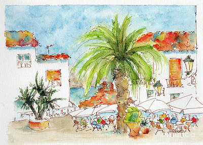 Outdoor Cafe Painting - Plaza Altea Alicante Spain by Pat Katz