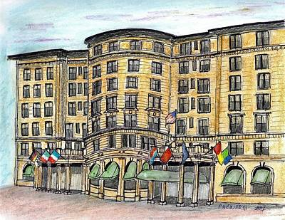 Drawing - Plaza- Boston by Paul Meinerth