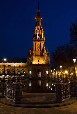 Plaza De Espana At Night - Seville 3 Art Print