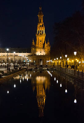 Plaza De Espana At Night - Seville 6 Art Print by Andrea Mazzocchetti