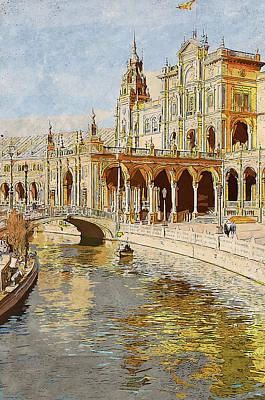 Painting - Plaza De Espana, Seville - 01  by Andrea Mazzocchetti