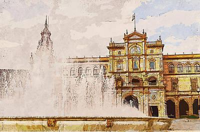 Painting - Plaza De Espana, Seville - 04 by Andrea Mazzocchetti