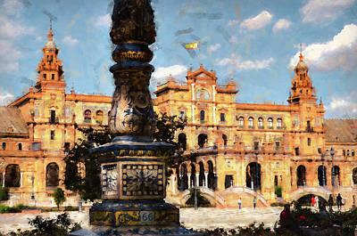 Painting - Plaza De Espana, Seville - 09 by Andrea Mazzocchetti