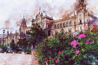 Painting - Plaza De Espana, Seville - 10 by Andrea Mazzocchetti