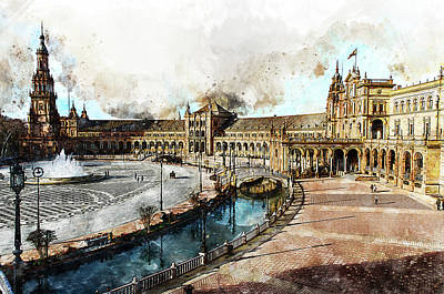 Movies Star Paintings - Plaza de Espana, Seville - 13 by AM FineArtPrints