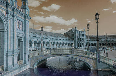 Print featuring the photograph Plaza De Espana Vintage by Jenny Rainbow