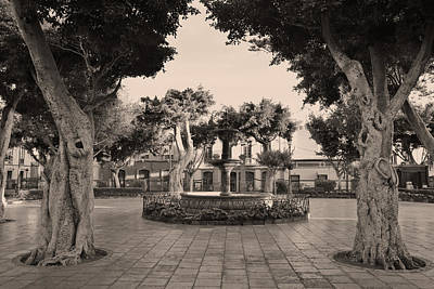 Photograph - Plaza De Santiago Sepia by Marek Stepan