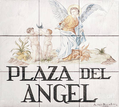 Hand-painted Ceramic Art Tile Photograph - Plaza Del Angel by Ilan Rosen