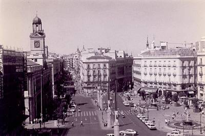 Photograph - Plaza Del Sol Madrid Black And White by Christopher Kirby