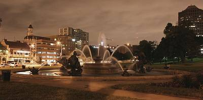 Photograph - Plaza Fountain Kansas City - Night Shot by David Dunham