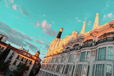 Photograph - Plaza Santa Ana In Madrid Spain Brilliantly Sunlit In Teal And Orange by Georgia Mizuleva