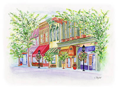 Painting - Plaza Shops by Lori Taylor