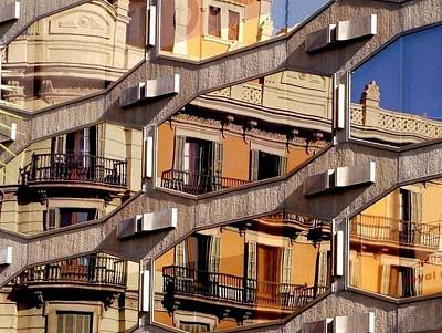 Barcelona Digital Art - Spanish Balconies by Susan Fernandez