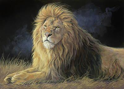 Lion Painting - Pleasant Breeze by Lucie Bilodeau
