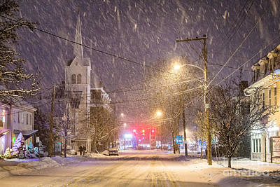 Snowy Night Photograph - Pleasant Street Snow by Benjamin Williamson