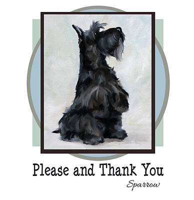 Scottish Dog Painting - Please And Thank You by Mary Sparrow
