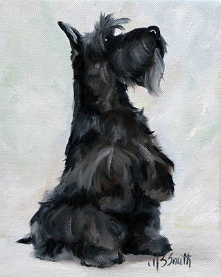Scottie Painting - Please by Mary Sparrow