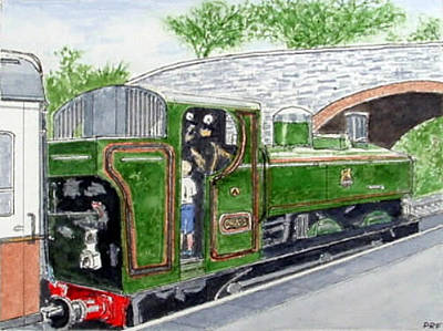 Painting - Please May I Drive? - Llangollen Steam Railway, North Wales by Peter Farrow