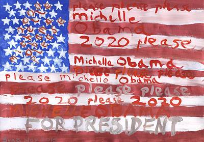 Michelle Obama Painting - Please Michelle Obama Please 2020  by Sushila Burgess