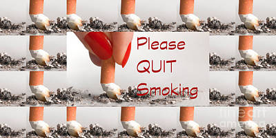 Photograph - Please Quit Smoking Text Image Posters Canvas Pillows Curtains Tote Bags Duvets Towels Phone Cases  by Navin Joshi