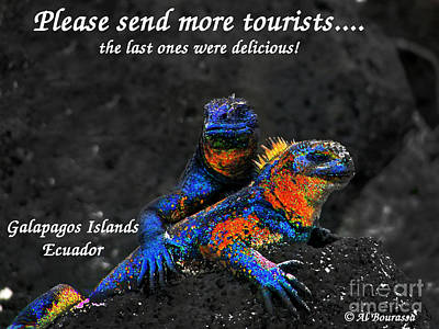 Hoodies Photograph - Please Send More Tourists - Marine Iguana by Al Bourassa
