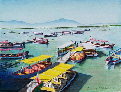 Art Print featuring the mixed media Pleasure Boats On Lake Chapala by Constance Drescher