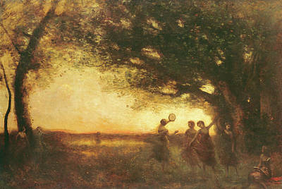 Pleasures Of The Evening Art Print by Jean Baptiste Camille Corot