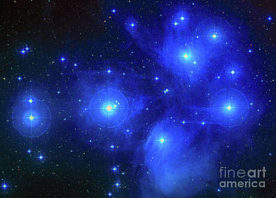 Telescopic Image Photograph - Pleiades Constellation by Louie Navoni