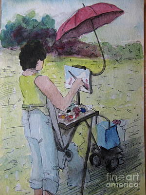 Painting - Plein-air Artist Sandra by Gretchen Allen