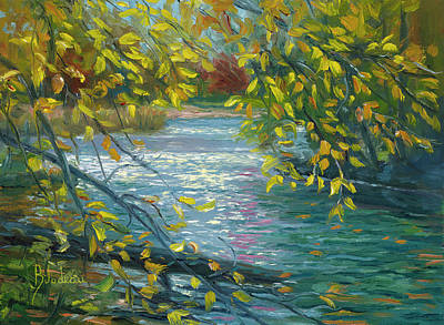 New England Fall Painting - Plein Air - Chicopee State Park by Lucie Bilodeau