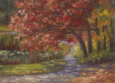 Painting - Plein Air - Forest Park In The Fall by Lucie Bilodeau
