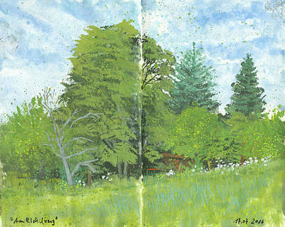Painting - Plein Air Gouache Sketch,rural Landscape With Trees by Martin Stankewitz