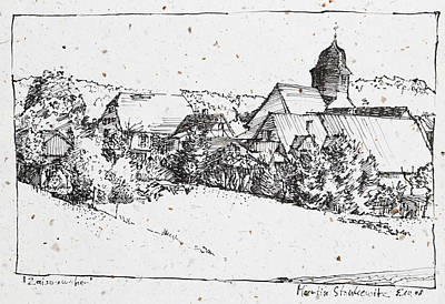 Drawing - plein air ink drawing rural village Zaisersweiher by Martin Stankewitz