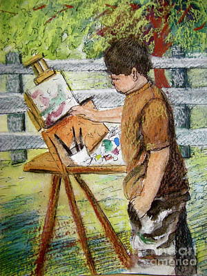 Painting - Plein-air Painter Boy by Gretchen Allen
