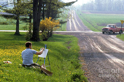 Artist Working Photograph - Plein Air Painter by Erik Falkensteen