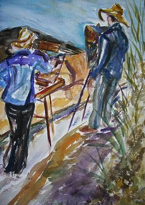Painting - Plein Air Painters - Original Watercolor by Quin Sweetman