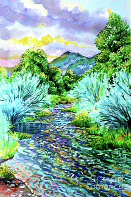 Digital Art - Plein Air Water Color, South Platte River by Annie Gibbons