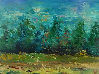 Plein Air With Palette Knives Art Print by Carol Berning