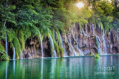 Croatia Photograph - Plitvice Sunburst by Inge Johnsson