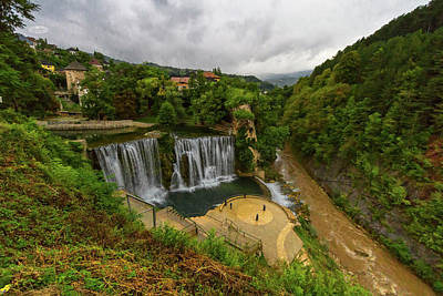 Photograph - Pliva Waterfall, Jajce, Bosnia And Herzegovina by Elenarts - Elena Duvernay photo