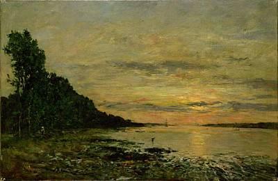 Estuary Painting - Plougastel Daoulas by Eugene Louis Boudin
