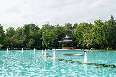 Photograph - Plovdiv Singing Fountains - Bright Aquamarine Water Dancing Jets And Music by Georgia Mizuleva