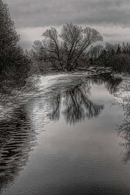 Photograph - Plover River Black And White Winter Reflections by Dale Kauzlaric