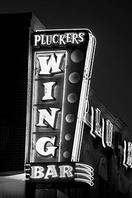 Photograph - Pluckers Wing Bar B W 070218 by Rospotte Photography