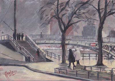 Painting - Pluie Sur Le Pont Passarelle Liege by Nop Briex
