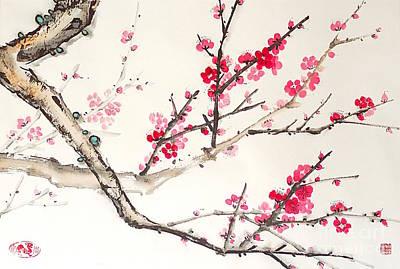 Fruit Tree Art Painting - Plum Blossom by Birgit Moldenhauer
