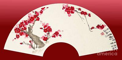 Fruit Tree Art Painting - Plum Blossom In Fan by Birgit Moldenhauer