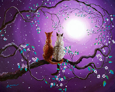 Plum Blossoms In Pale Moonlight Art Print