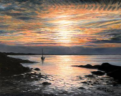 Painting - Plum Cove Sunset by Eileen Patten Oliver